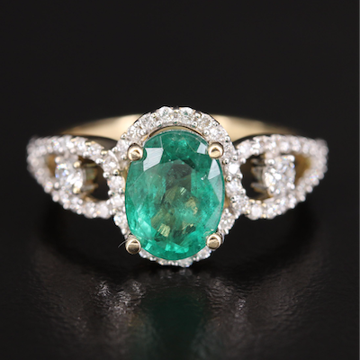 14K Diamond and 2.32 CTS Emerald Halo Ring