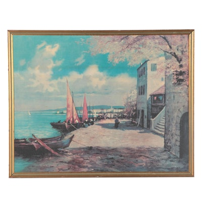 Offset Lithograph of Harbor Scene, Late 20th Century