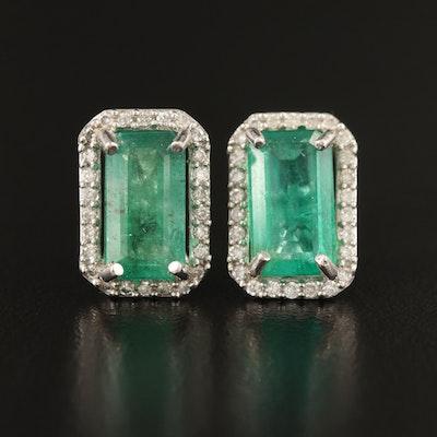 14K 4.17 CT Emerald and Diamond Earrings