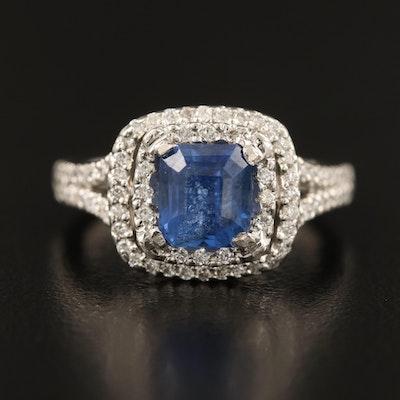 Bashoura Platinum Sapphire and 1.00 CTW Diamond Double Halo Ring