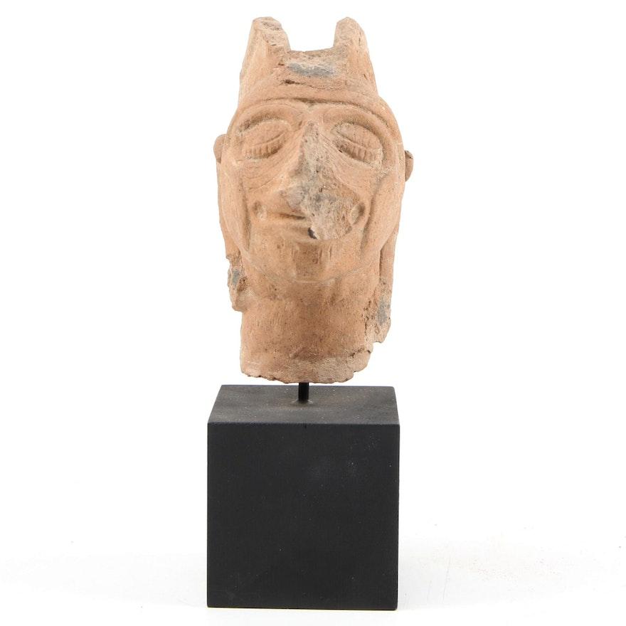 Pre-Columbian Veracruz Ceramic Head, possibly Xipetotec, C. 1350 CE