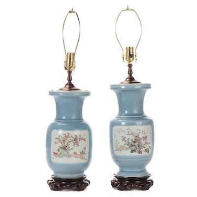 Chinese Export Blue Glazed Porcelain Vase Table Lamps