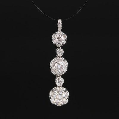 14K 1.23 CTS Diamond Buttercup Cluster Pendant