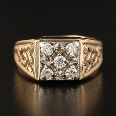 14K Diamond Textured Ring
