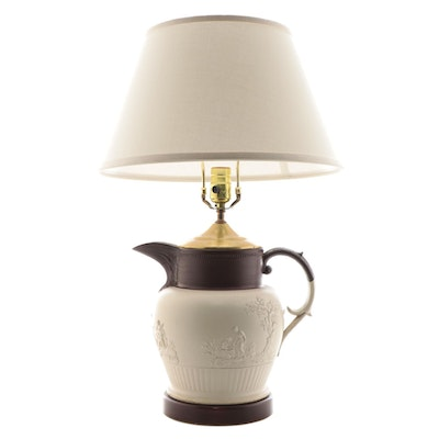 English Neoclassical Dry Bodied Stoneware Jug Converted to a Table Lamp