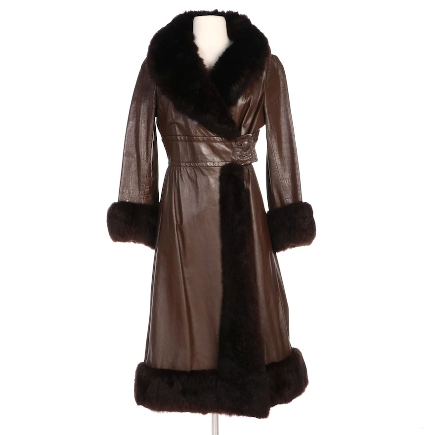 Brown Leather Full-Length Coat with Dyed Opossum Fur Trim