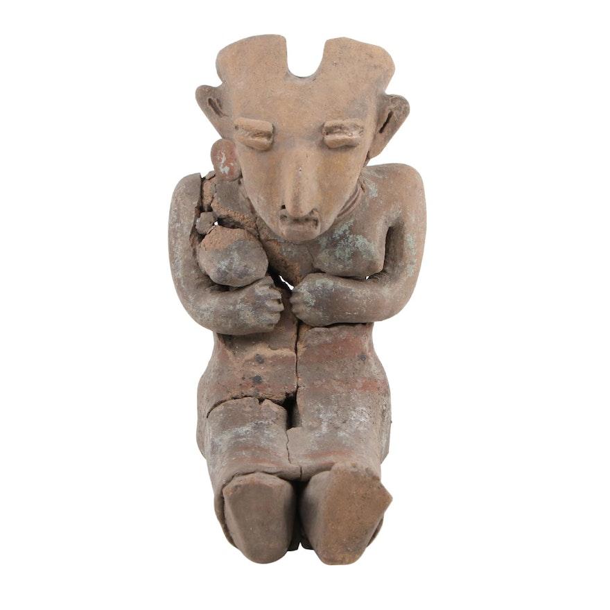 Pre-Columbian Seated Ceramic Female Figure