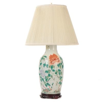 Chinese Floral Motif Ceramic Vase Table Lamp