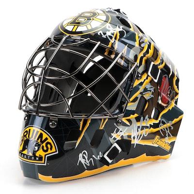2009-2010 Boston Bruins Signed Franklin Hockey Goalie Mask, Global COA
