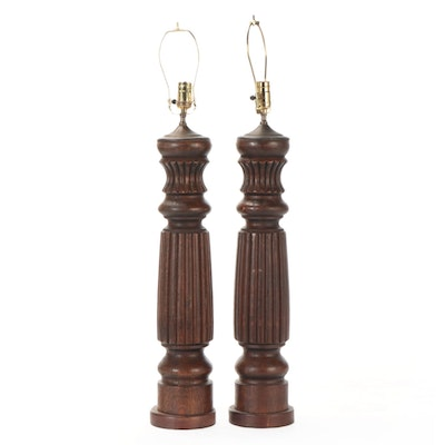 Reeded and Turned Oak Column Table Lamps