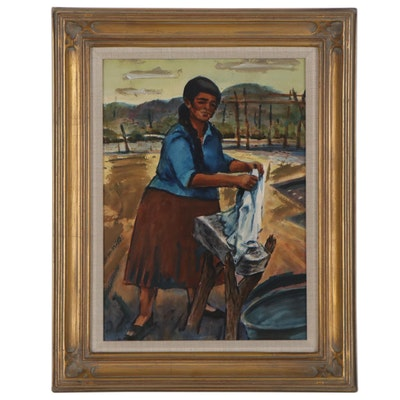Barney Delabano Watercolor and Gouache Painting, 1956