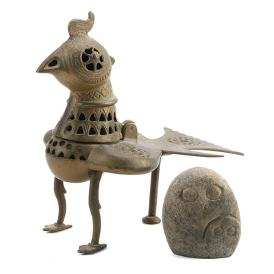 Indian Brass Censer and Inuit Style Owl Stone Carving