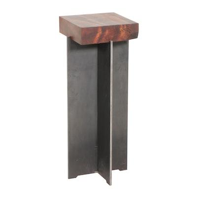 Steel and Pine Display Pedestal, 21st Century
