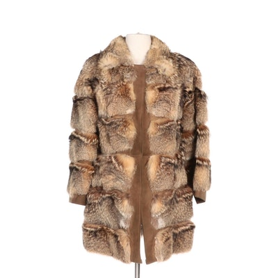 Sectioned Natural Coyote Fur and Suede Coat