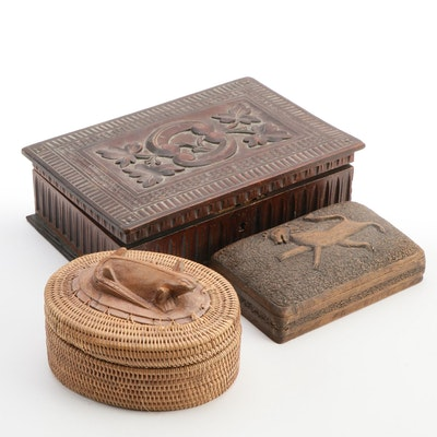 Indonesian Trinket Box and Other Folk Art Carved Wood Boxes
