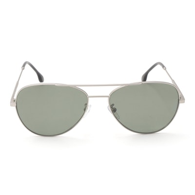 Paul Smith Angus Matte Silver Tone Aviator Sunglasses with Case