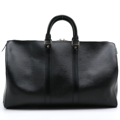 Louis Vuitton Keepall 45 in Black Epi and Smooth Leather