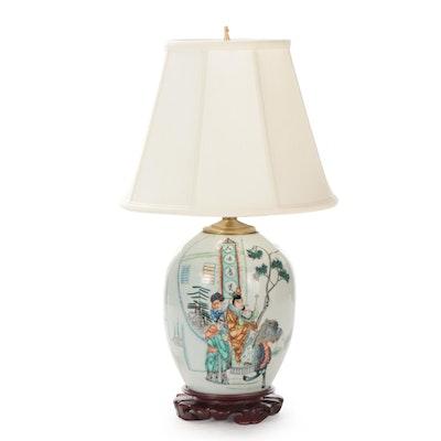 Chinese Famille Verte Poem Melon Jar Table Lamp
