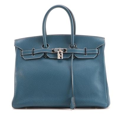 Hermès Birkin 35 Satchel in Blue Clemence Leather with Palladium Plated Hardware