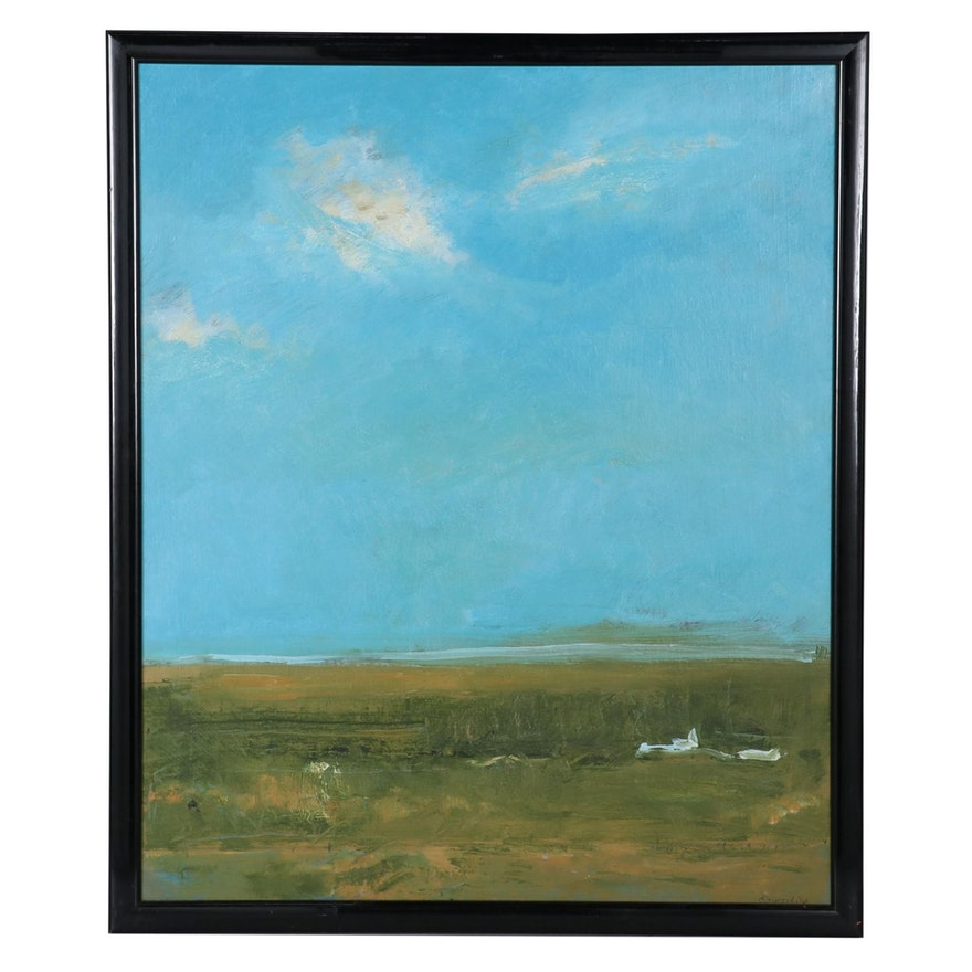 "Robert Knipschild Landscape Oil Painting ""Spring Sky"""