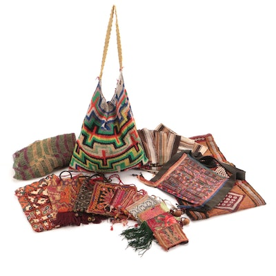Woven Textile Bags and Drawstring Bags with Knit Bags and Unfinished Pouches