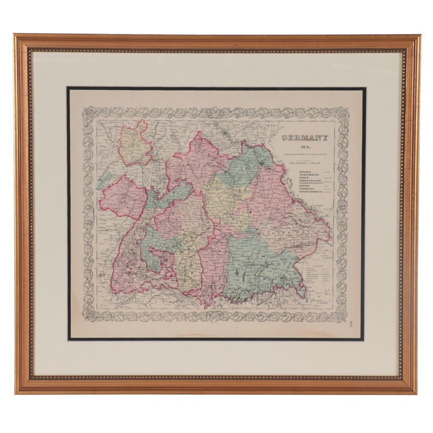 J. H. Colton & Co. Hand-Colored Wood Engraving Map of Germany, Late 19th Century