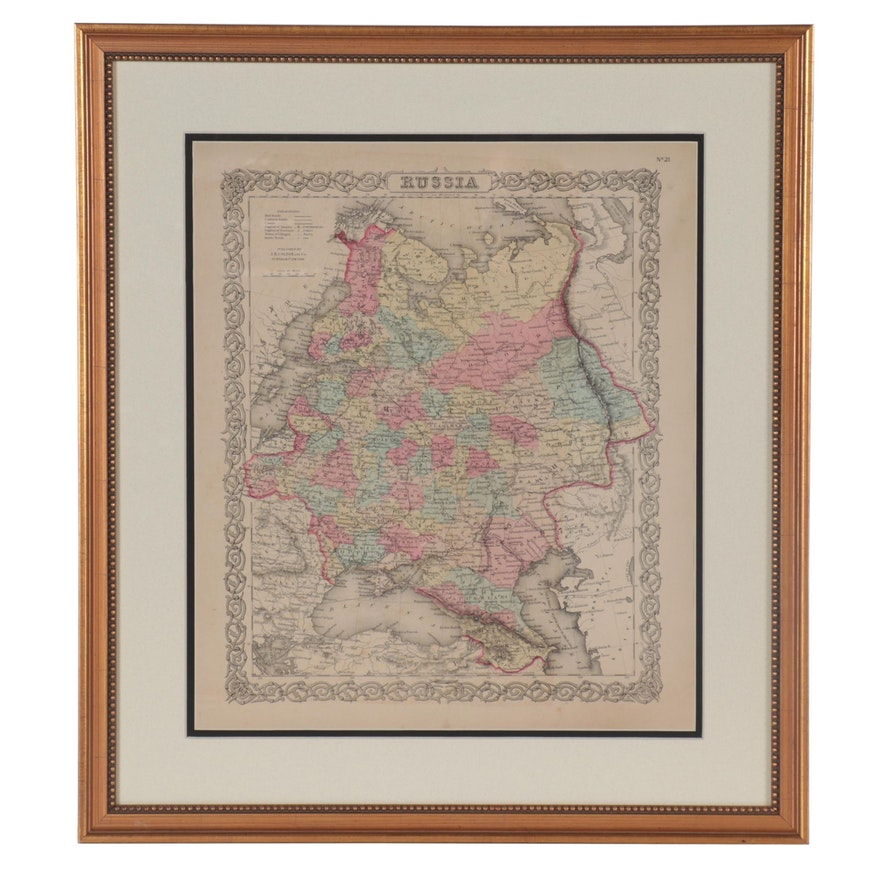 J. H. Colton & Co. Hand-Colored Wood Engraving Map of Russia, Late 19th Century