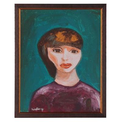 Modern Style Portrait Acrylic Painting, 21st Century