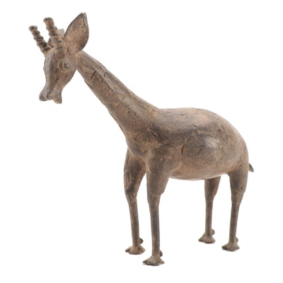 West African Cast Bronze Sculpture of Giraffe