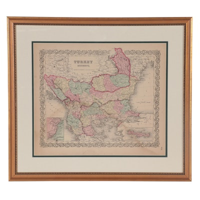 J. H. Colton & Co. Hand-Colored Wood Engraving Map of Turkey, Late 19th Century