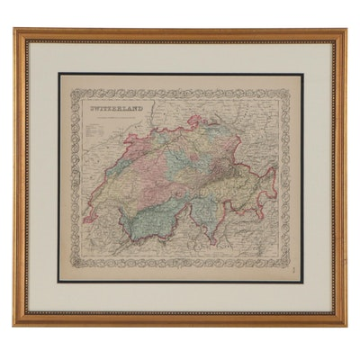 J. H. Colton & Co. Wood Engraving Map of Switzerland, Late 19th Century