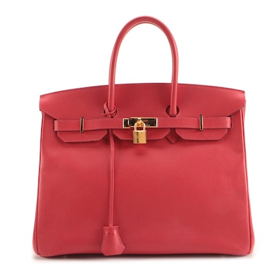 Hermès Birkin 35 Satchel in Bougainvillea Epsom Leather and Gold Plated Hardware