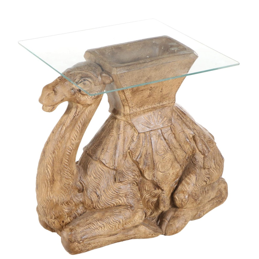 Recumbent Camel Form Cast Composite with Glass Top Side Table