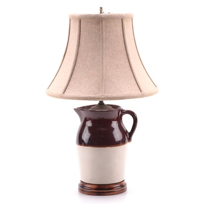 American Stoneware Pitcher Converted Table Lamp