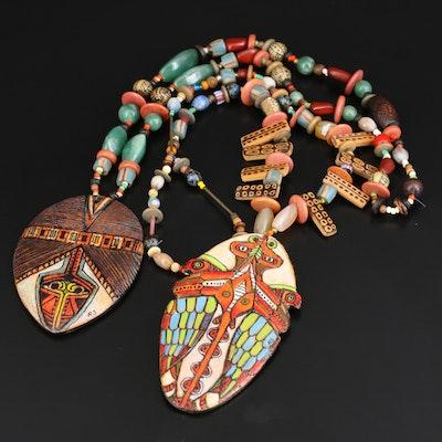 Lenore and Robert Szesko Gemstone Reversible Totem Animal Necklaces