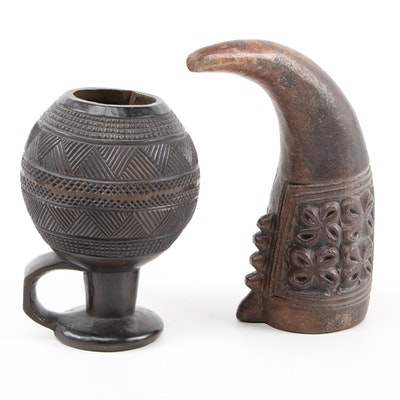 Kuba Carved Wood Cup and Tikar Style Ceramic Drinking Horn