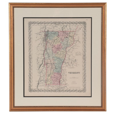 J. H. Colton & Co. Wood Engraving Map of Vermont, Late 19th Century