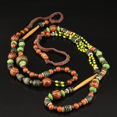 Lenore Szesko Necklaces Featuring Jasper, Wood and Trade Beads