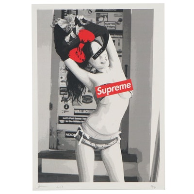 """Death NYC Offset Lithograph """"Supreme Morning Girl,"""" 2017"""