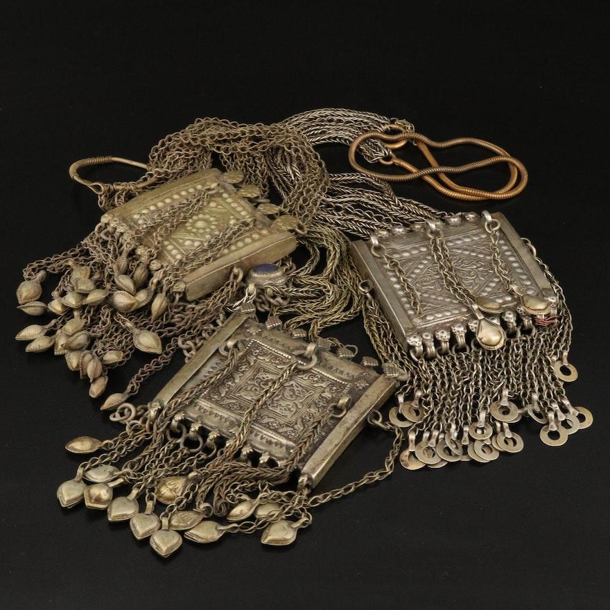 Indian Prayer Box Necklaces Including Lapis Lazuli Accents
