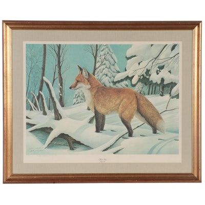 """John A. Ruthven Offset Lithograph """"Red Fox,"""" circa 1979"""