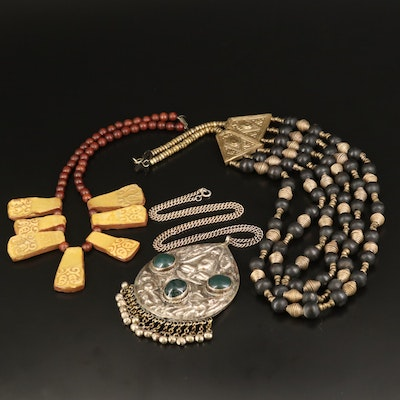 Northern India Tribal Necklaces with Ceramic and Bloodstone