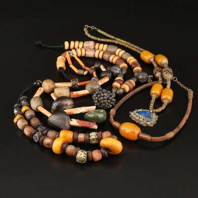 Vintage Berber Style Necklaces Featuring Serpentine, Lapis Lazuli and Bone
