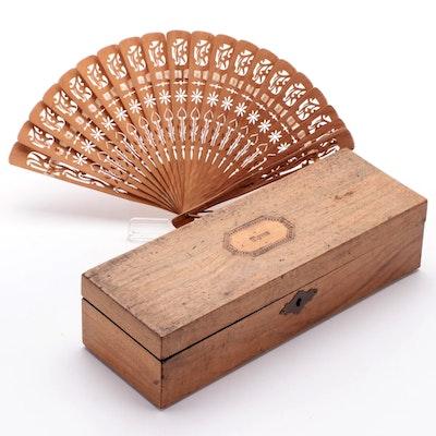 English Inlaid Maple Glove Box and Pierced Sandalwood Fan