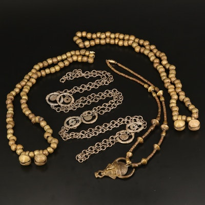 West African Necklaces Featuring Asante Bell Beads
