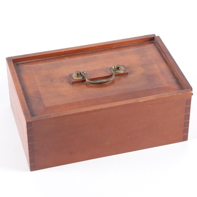 English Mahogany Slide Top Four-Compartment Box, Early 19th Century