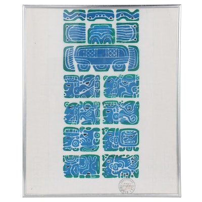 Relief Print of Mayan Calendar Illustrations, Mid-Late 20th century