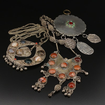 Vintage Afghani Necklaces and Pendant Including Turquoise