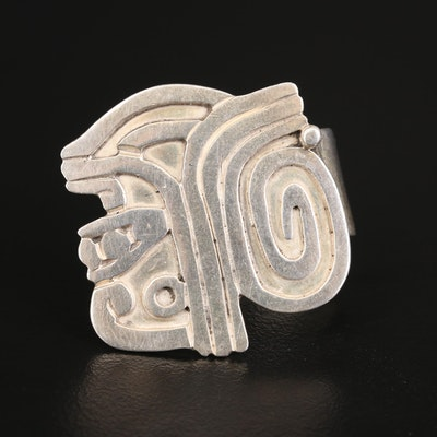 Mexican Sterling Silver Aztec Warrior Profile Ring