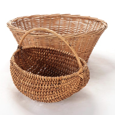 Woven Wicker Handled and Storage Baskets
